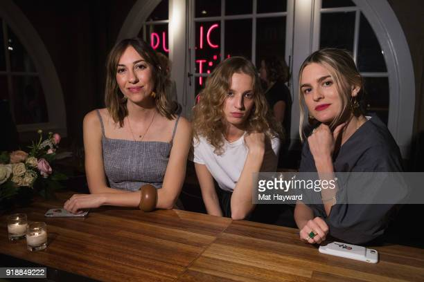 Gia Coppola Petra Collins and Nathalie Love attend the Celine Nordstrom PopUp launch celebration at Matt's in the Market restaurant on February 15...