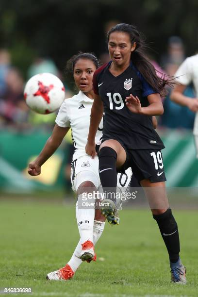 Gia Corley of Germany and Michaela Rosenbaum of United States compete for the ball during the Girls U16 international friendly match between Germany...