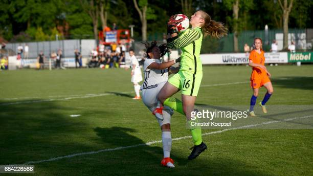 Gia Corley of Germany challenges Regina van Eijk of the Netherlands during the U15 girl's international friendly match between Germany and...