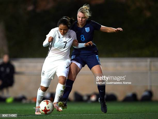 Gia Corley of Germany competes for the ball with Kiera Skeels of England during the international friendly match between U17 Girl's Germany and U17...