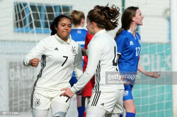 Gia Corley of Germany jubilates with team mate Emilie Bernhardt after scoring the first goal during the UEFA U17 Girl's European Championship...