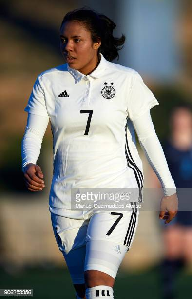 Gia Corley of Germany looks on during the international friendly match between U17 Girl's Germany and U17 Girl's England at Complex Esportiu Futbol...