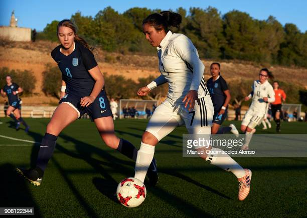 Gia Corley of Germany runs with the ball during the international friendly match between U17 Girl's Germany and U17 Girl's England at Complex...