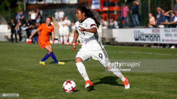 Gia Corley of Germany runs with the ball during the U15 girl's international friendly match between Germany and Netherlands at Getraenke Hoffmann...