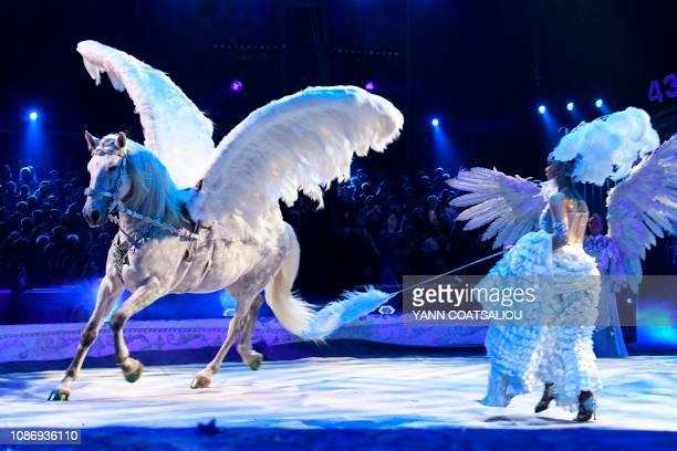 Gia Eradze's royal circus performs during the gala of the 43th MonteCarlo International Circus Festival in Monaco on January 22 2019 The festival...
