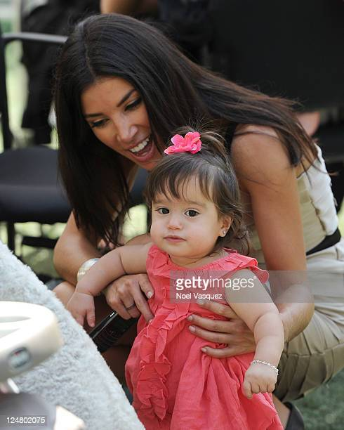 Gia Francesca Lopez and Adrianna Costa visit Extra at The Grove on September 12 2011 in Los Angeles California