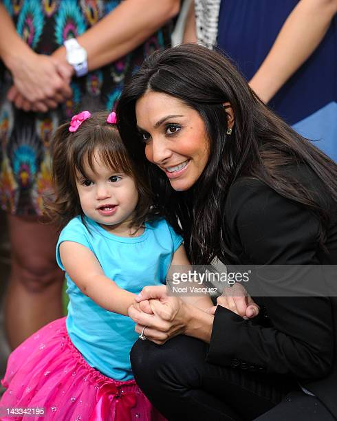 Gia Francesca Lopez and Courtney Mazza visit Extra at The Grove on April 24 2012 in Los Angeles California