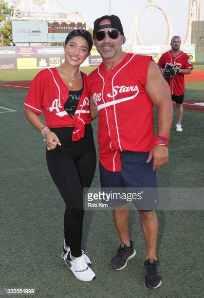 Gia Giudice and Joe Gorga of The Real Housewives of New Jersey attend the 2021 Battle for Brooklyn celebrity softball game at Maimonides Park, Coney...