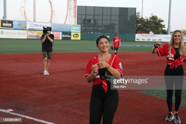 Gia Giudice attends the 2021 Battle for Brooklyn celebrity softball game at Maimonides Park, Coney Island on August 12, 2021 in New York City.