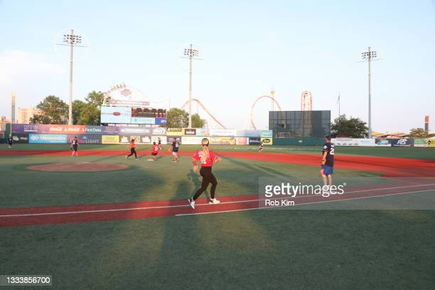 Gia Giudice runs the bases at the 2021 Battle for Brooklyn celebrity softball game at Maimonides Park, Coney Island on August 12, 2021 in New York...