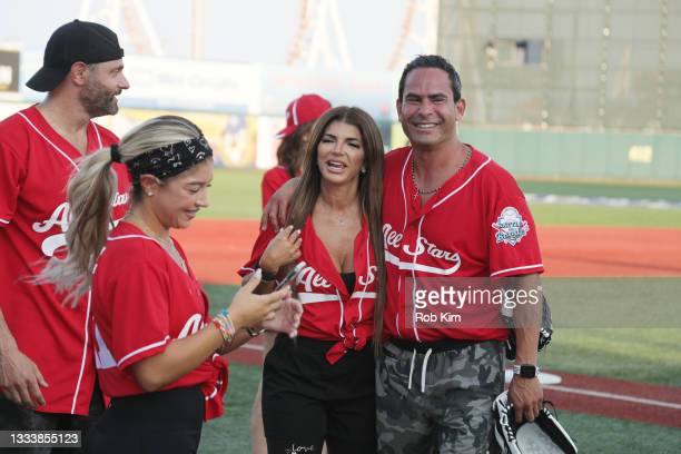 Gia Giudice, Teresa Giudice of The Real Housewives of New Jersey and Luis Ruelas attend the 2021 Battle for Brooklyn celebrity softball game at...