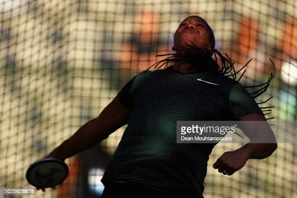 Gia Lewis-Smallwood of USA competes in the women's discus throw during the IAAF Diamond League AG Memorial Van Damme at King Baudouin Stadium on...