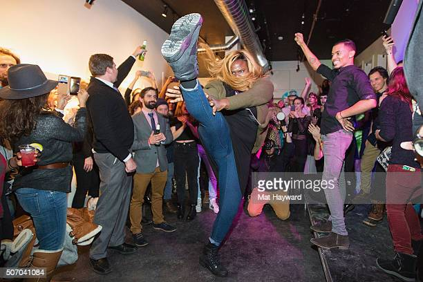 Gia Marie Love dances during a celebration of the film 'Kiki' during the Sundance Film Festival at Kickstarter Green Room on January 26 2016 in Park...