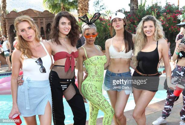 Gia Marie PMOY 2018 Nina Daniele Teyana Taylor Summer Altice and Stephanie Branton attend the Pool Party at Playboy Social Club on April 14 2018 in...