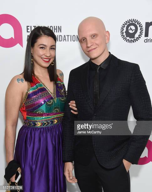 Gia Olimp and Anthony Carrigan attend the 27th annual Elton John AIDS Foundation Academy Awards Viewing Party sponsored by IMDb and Neuro Drinks...