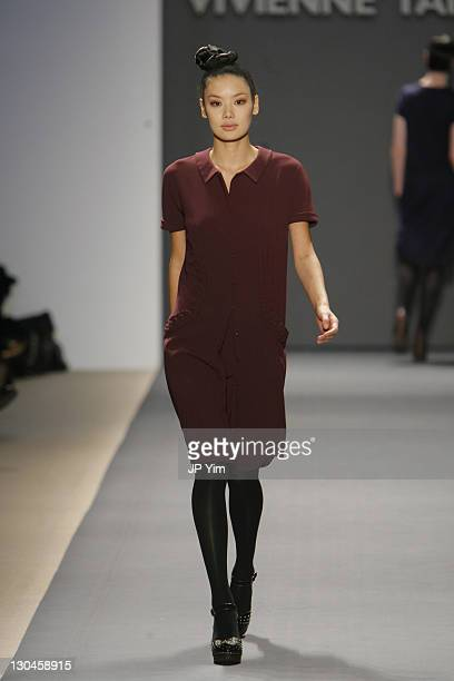 Gia wearing Vivienne Tam Fall 2007 during Mercedes Benz Fashion Week Fall 2007 Vivienne Tam Runway at The Promenade Bryant Park in New York City New...