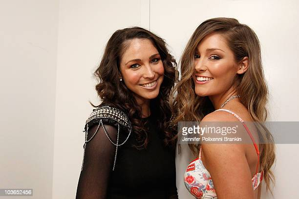 Giaan Rooney and Erin McNaught pose backstage ahead of the Hot In The City Intimates show as part of Rosemount Sydney Fashion Festival 2010 at Sydney...