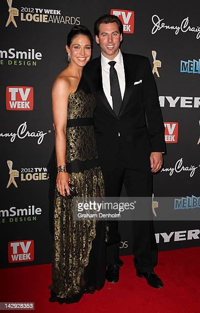 Giaan Rooney and Grant Hackett arrive at the 2012 Logie Awards at the Crown Palladium on April 15 2012 in Melbourne Australia