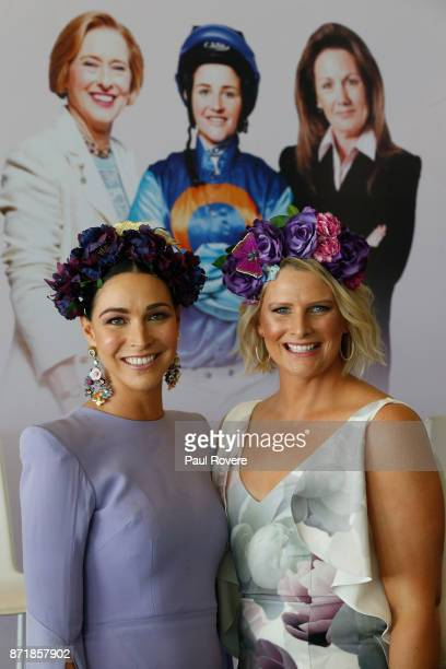 Giaan Rooney and Leisl Jones pose for a photo at the Celebrating Women In Sport event on 2017 Oaks Day at Flemington Racecourse on November 9 2017 in...