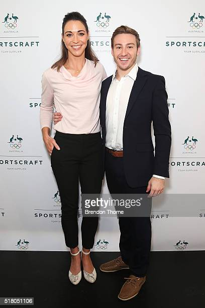 Giaan Rooney and Matthew Mitcham pose during Sportscraft's opening ceremony and formal uniform launch on March 30 2016 in Sydney Australia