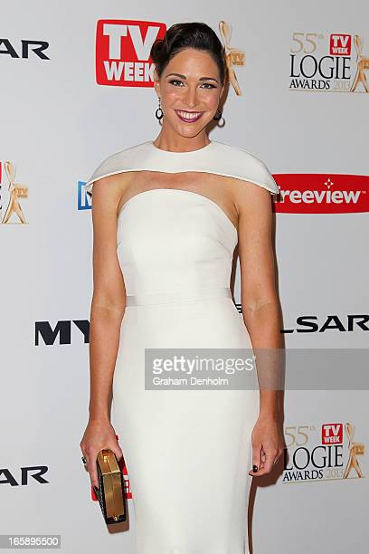 Giaan Rooney arrives at the 2013 Logie Awards at the Crown on April 7 2013 in Melbourne Australia