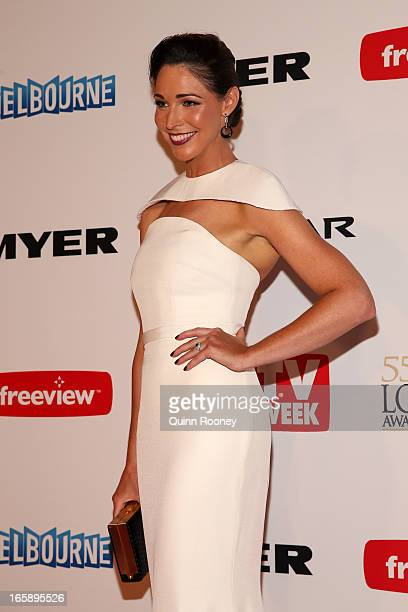 Giaan Rooney arrives at the 2013 Logie Awards at the Crown Palladium on April 7 2013 in Melbourne Australia