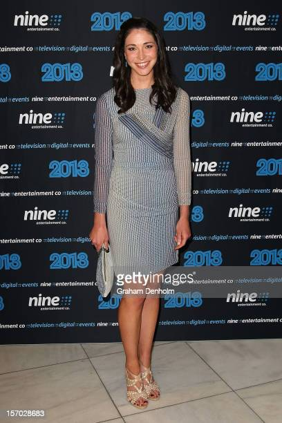 Giaan Rooney poses as she arrives at the Nine 2013 program launch at Myer on November 28 2012 in Melbourne Australia