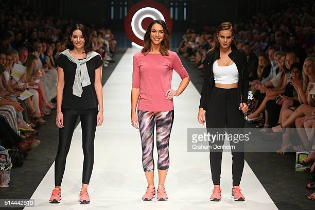 Giaan Rooney showcases designs by Giaan by Spalding Performance during the Jean Paul Gaultier x Target Launch during Melbourne Fashion Festival on...