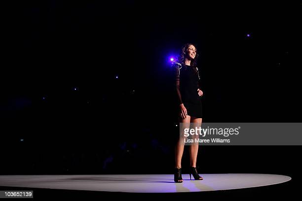 Giaan Rooney showcases designs by Jockey on the catwalk during the Hot In The City Intimates group show as part of Rosemount Sydney Fashion Festival...