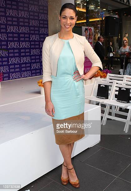 Giaan Rooney showcases designs by Lisa Ho during the David Jones Spring Racewear launch at David Jones Bourke street on September 5 2011 in Melbourne...