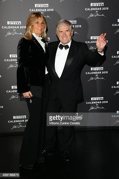 Giacomo Agostini and Maria Agostini attend the 2015 Pirelli Calendar Red Carpet on November 18 2014 in Milan Italy