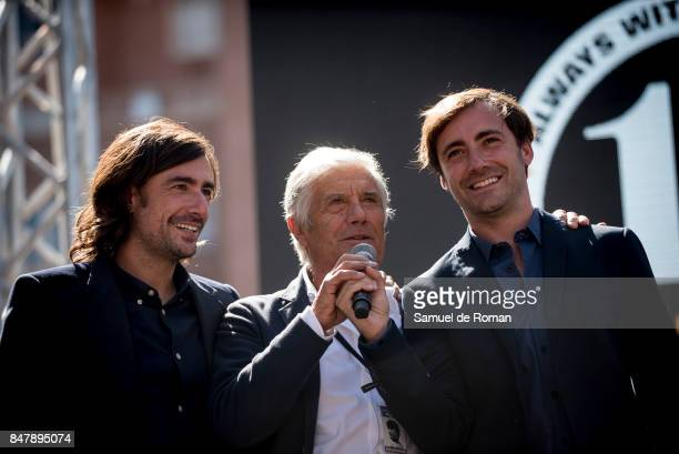 Giacomo Agostini Gelete Nieto and Pablo Nieto during the Funeral Tribute For Angel Nieto in Madrid on September 16 2017 in Madrid Spain