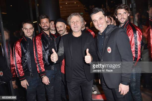 Giacomo Bonaventura, Marco Storari, Andrea Rosso, Renzo Rosso, Vincenzo Montella and Andrea Poli attend The New Bomber Presentation at the Diesel...