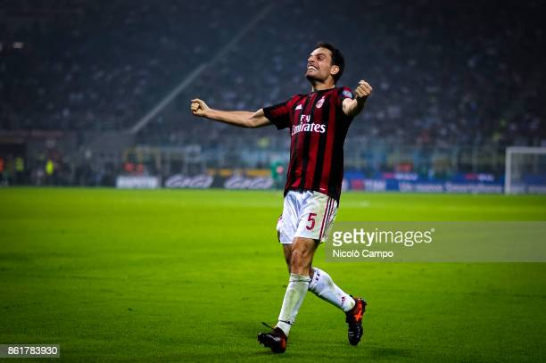 Giacomo Bonaventura of AC Milan celebrates after causing an own goal during the Serie A football match between FC Internazionale and AC Milan FC...