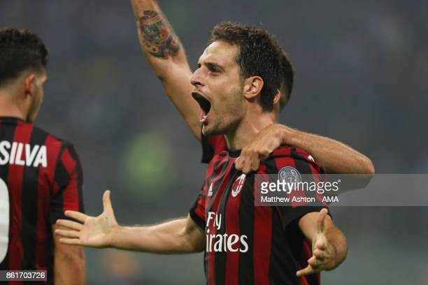Giacomo Bonaventura of AC Milan celebrates after scoring a goal to make it 22 during to the Serie A match between FC Internazionale and AC Milan at...