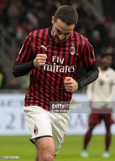 Giacomo Bonaventura of AC Milan celebrates after scoring the opening goal during the Coppa Italia Quarter Final match between AC Milan and Torino at...