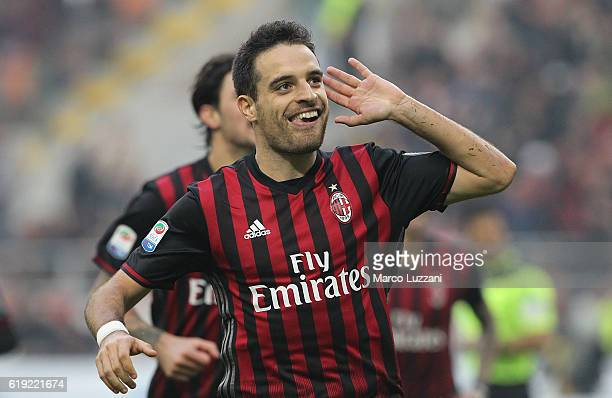 Giacomo Bonaventura of AC Milan celebrates after scoring the opening goal during the Serie A match between AC Milan and Pescara Calcio at Stadio...