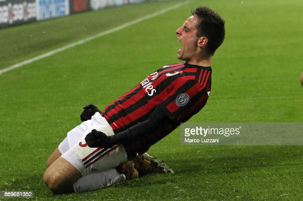 Giacomo Bonaventura of AC Milan celebrates his second goal during the Serie A match between AC Milan and Bologna FC at Stadio Giuseppe Meazza on...