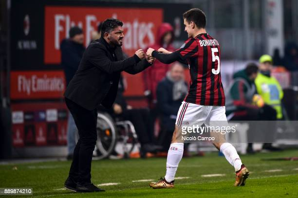 Giacomo Bonaventura of AC Milan celebrates with Gennaro Gattuso after scoring the opening goal during the Serie A football match between AC Milan and...