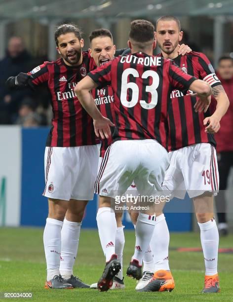 Giacomo Bonaventura of AC Milan celebrates with his teammate Ricardo Rodriguez Leonardo Bonucci and Patrick Cutrone after scoring the opening goal...
