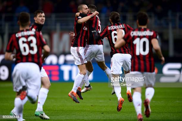 Giacomo Bonaventura of AC Milan celebrates with Leonardo Bonucci of AC Milan after scoring a goal during the Serie A football match between AC Milan...
