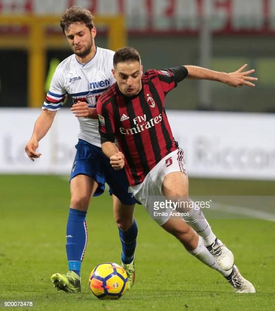 Giacomo Bonaventura of AC Milan competes for the ball with Bartosz Bereszynski of UC Sampdoria during the serie A match between AC Milan and UC...