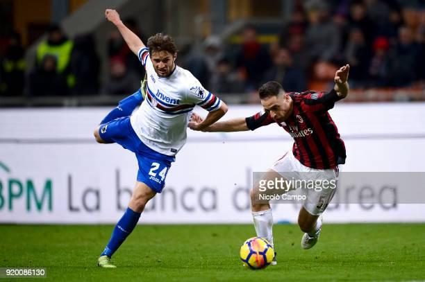 Giacomo Bonaventura of AC Milan competes for the ball with Bartosz Bereszynski of UC Sampdoria during the Serie A football match between AC Milan and...
