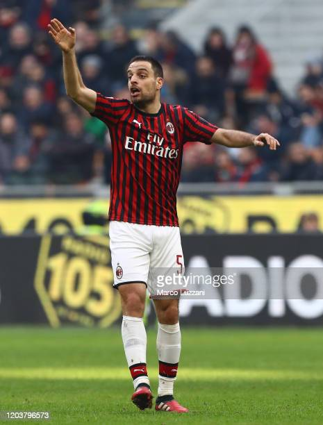 Giacomo Bonaventura of AC Milan gestures during the Serie A match between AC Milan and Hellas Verona at Stadio Giuseppe Meazza on February 2, 2020 in...