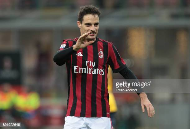 Giacomo Bonaventura of AC Milan gestures during the Tim Cup match between AC Milan and Hellas Verona FC at Stadio Giuseppe Meazza on December 13 2017...