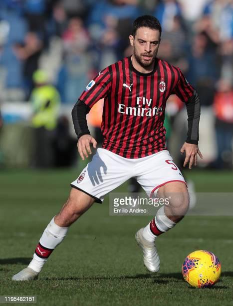 Giacomo Bonaventura of AC Milan in action during the Serie A match between Atalanta BC and AC Milan at Gewiss Stadium on December 22, 2019 in...