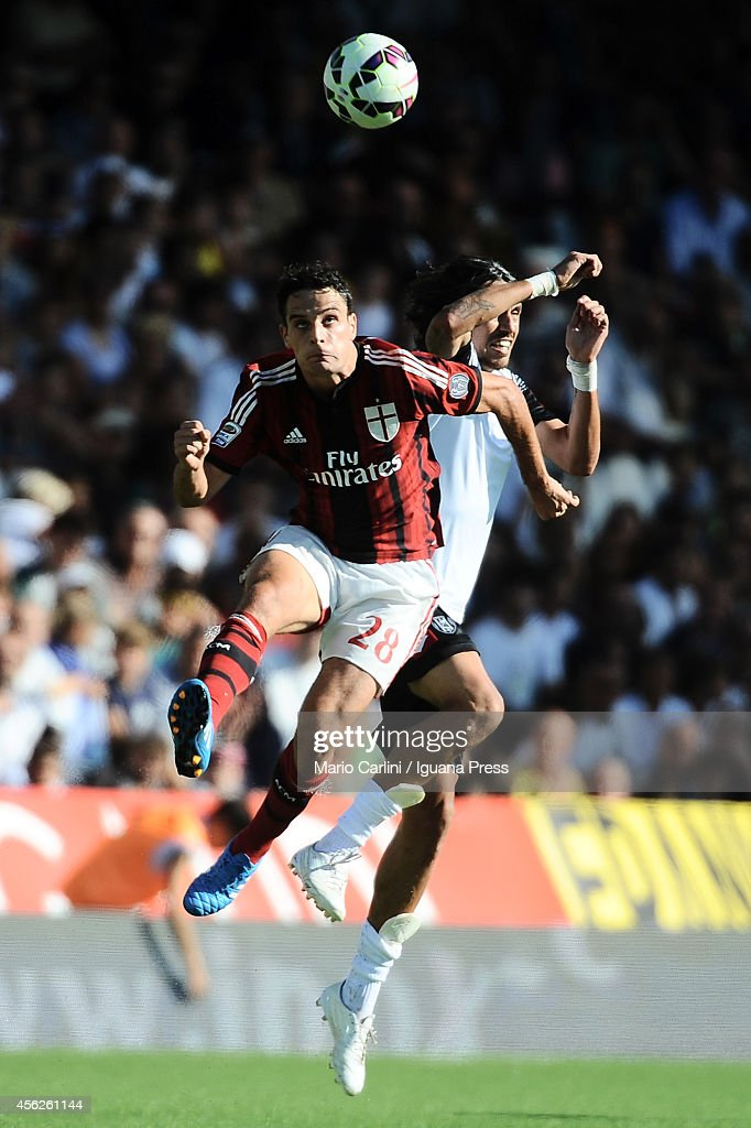 Giacomo Bonaventura # 28 of AC Milan in action during the Serie A match between AC Cesena and AC Milan at Dino Manuzzi Stadium on September 28, 2014 in Cesena, Italy.