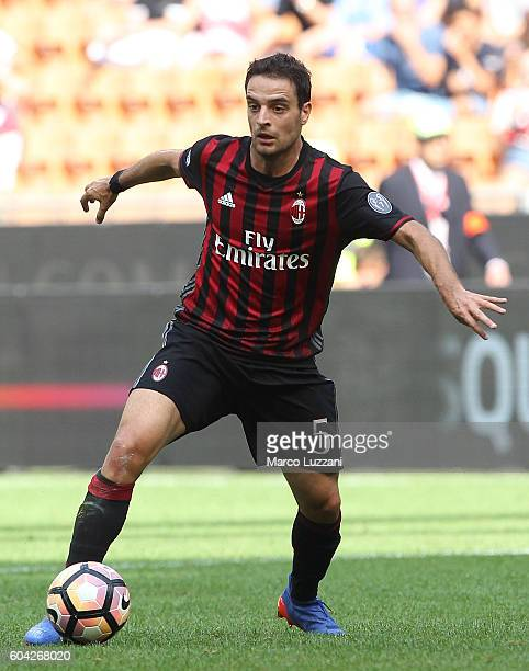 Giacomo Bonaventura of AC Milan in action during the Serie A match between AC Milan and Udinese Calcio at Stadio Giuseppe Meazza on September 11 2016...