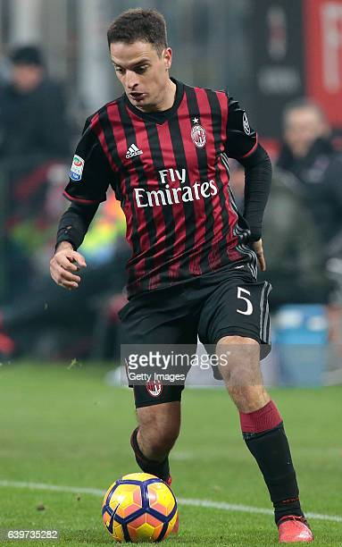 Giacomo Bonaventura of AC Milan in action during the Serie A match between AC Milan and SSC Napoli at Stadio Giuseppe Meazza on January 21 2017 in...