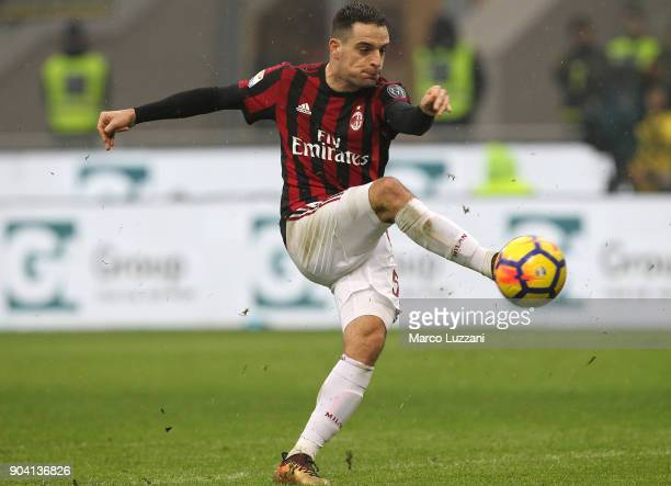 Giacomo Bonaventura of AC Milan in action during the serie A match between AC Milan and FC Crotone at Stadio Giuseppe Meazza on January 6 2018 in...